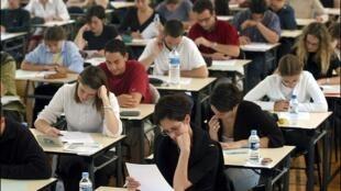 Des lycéens lors d'une épreuve de baccalauréat.