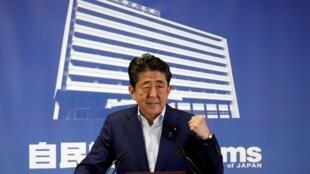 Thủ tướng Nhật Shinzo Abe, trong buổi họp báo ngày 22/07/2019, tại Tokyo.