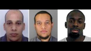 Jóvenes, yihadistas y franceses: Cherif y Saïd Kouachi, Amedy Coulibaly (de izquierda a derecha).