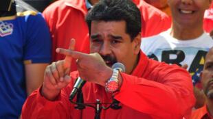 Tổng thống Venezuela Nicolas Maduro phát biểu trước những người ủng hộ tại Caracas, ngày 23/02/2019.