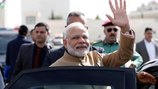 លោកនាយករដ្ឋមន្ត្រី Narendra Modi ពេលទៅដល់ក្រុង Ramallah ដែនដីប៉ាឡេស្ទីន ថ្ងៃទី ១០ កុម្ភៈ ២០១៨