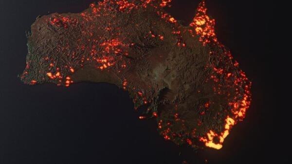 'Es una visualización 3D de los incendios en Australia. NO UNA FOTO. Piensen en ella como en un gráfico', explica el fotógrafo Anthony Hearsey en su cuenta de Facebook.