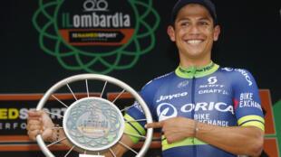 El colombiano Esteban Chaves ganó la 110ª edición del Giro de Lombardía, este 1 de octubre de 2016.