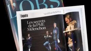 """""""Os segredos do 'pequeno empreendimento' de Mélenchon"""" é o título da reportagem do semanário L'OBS."""
