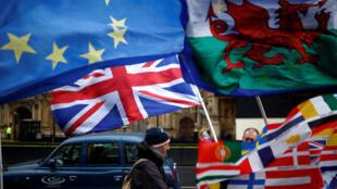 Cảnh trước Nghị viện Anh tại Luân Đôn, sau khi thỏa thuận về Brexit bị các nghị sĩ Anh bác bỏ, 16/01/2019.