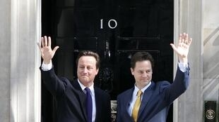 Nick Clegg (R) with British Prime Minister David Cameron
