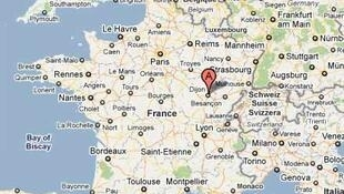 Map of France showing Dijon