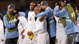 La joie des Uruguayens après leur victoire face à l'Afrique du Sud.