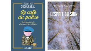 Couvertures «Le café du padre», de Père Jean-Yves Ducourneau et «L'esprit du soin», du Dr Bertrand Galichon.