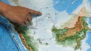 Vùng biển Bắc Natuna trên bản đồ mới của Indonesia được thứ trưởng Hàng Hải Indonesia Arif Havas Oegroseno giới thiệu tại Jakarta, ngày 14/07/2017.