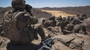 A French soldier on patrol in the Terz valley in northern Mali in March.