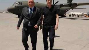 British PM David Cameron with British Ambassador Sir William Patey on arrival in Afghanistan