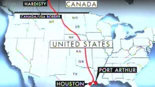 L'oléoduc Keystone XL partira de l'Alberta au Canada et passera par six Etats américains pour arriver au Texas.