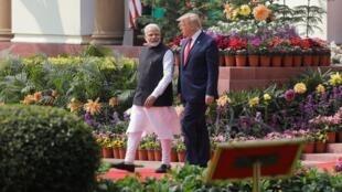 Donald Trump et Narendra Modi avant leur conférence de presse conjointe à Hyderabad House à New Delhi, le 25 février 2020.