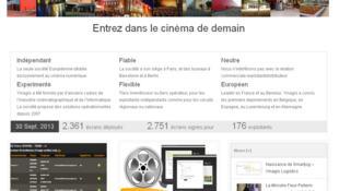 La page d'accueil de la start-up Ymagis. Pour la seconde année consécutive, la start-up française arrive en tête du classement. Spécialisée dans la transition du cinéma vers le numérique créé en 2007, Ymagis affiche une croissance de 60 000% sur 5 ans.