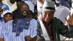 George Weah (à gauche) et Joseph Nyuma Boakai, candidats à la présidence du Liberia.