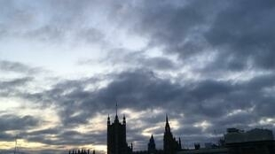 Dark skies over Westminister at the eve of national elections in the United Kingdom, 12 December 2019.