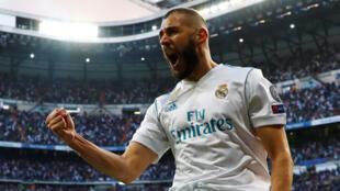 """O atacante francês Karim Benzema, autor duma """"dobradinha"""" que enviou o Real MAdrid para a final de Kiev"""