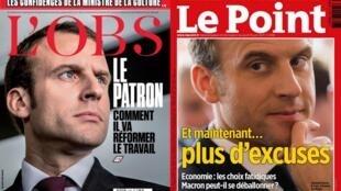 Capa das revistas semanais francesas L'OBS e Le Point.