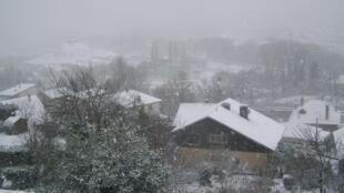 Snow in Chambery in the Savoie region in southeastern France.