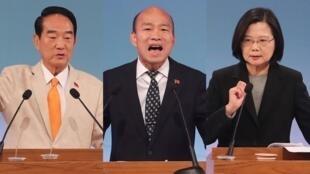2020台灣總統大選唯一一場電視辯論會29日登場,總統蔡英文(右)、高雄市長韓國瑜(中)、親民黨主席宋楚瑜(左)三位候選人,針對兩岸、網軍等議題攻防150分鐘。