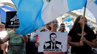 Manifestantes piden la renuncia de Jimmy Morales, Ciudad de Guatemala, 10 de septiembre de 2017.