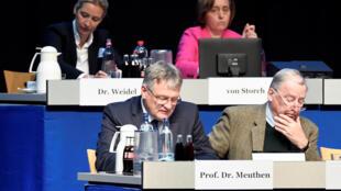 Les codirigeants de l'AfD Alexander Gauland et Joerg Meuthen. Derrière eux, les parlementaires Alice Weidel et Beatrix von Storch.