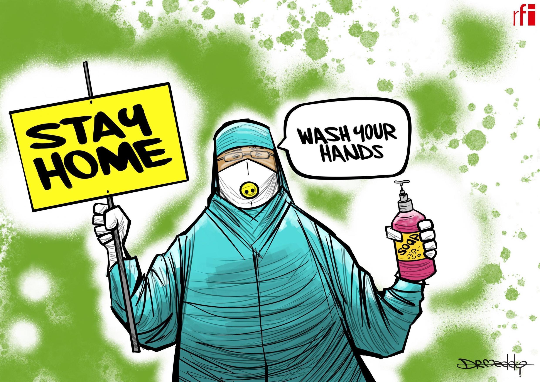 WHO, Gwamnatoci da Likitoci na karfafa gwiwar jama'a  kan zama a gida tare da wanke hannu don kariya daga coronavirus. 26.03.2020