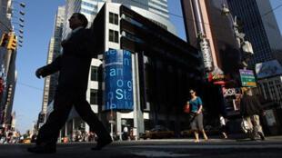 Le siège social de Morgan Stanley à New York, dans le quartier de Time Square.