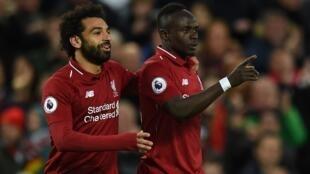 Le Sénégalais Sadio Mané et l'Egyptien Mohamed Salah de Liverpool.