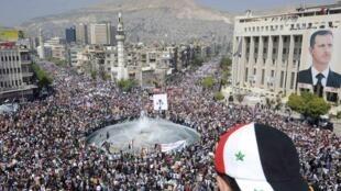 Manifestação pró-regime em Damasco na Síria,  29 de março de 2011