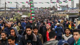 Rassemblement de Palestiniens lors du premier anniversaire de la «grande marche du retour» à Gaza le 3 mars 2019.