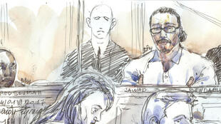 This courtroom sketch created at the palais de Justice court in Paris on January 24, 2018 shows Jawad Bendaoud in the dock, accused of harbouring two of the jihadists in the aftermath of the November 2015 Paris attacks.