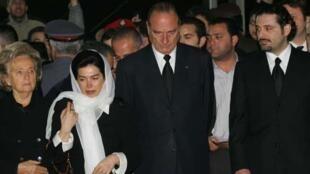مراسم خاکسپاری رفیق حریری: سعد حریری، ژاک شیراک،همسر رفیق حریری و همسر شیراک