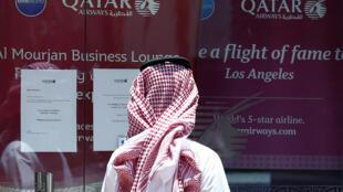 In front of an office of Qatar Airways in Riyadh, 5 June 2017.