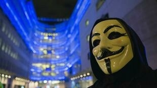 A supporter of the  Anonymous gorup in London