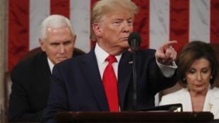 Shugaban Amurka Donald Trump yayin jawabinsa gaban Majalisar wakilai.