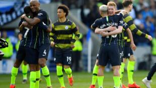 Les joueurs de Manchester City après leur victoire à Brighton le 12 mai 2019 (1-4).