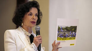 Bianca Jagger presents an Amnesty international report on repression in Nicaragua