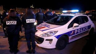 Протест полицейских в Марселе 20/10/2016