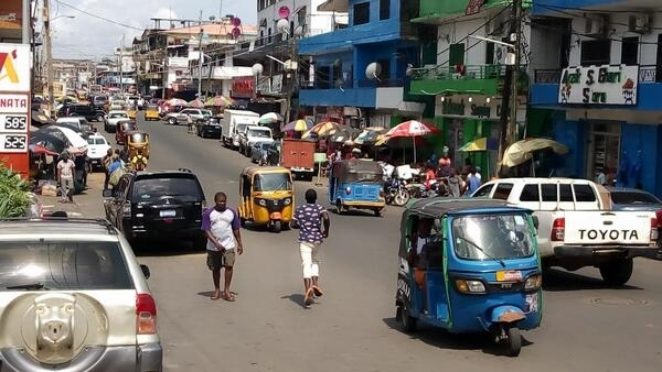 A busy street in the Liberian capital Monrovia, May 2019