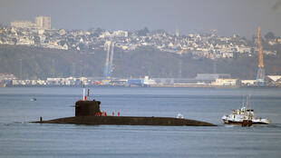 The submarine L'Inflexible off Brest in eastern France