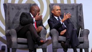 Cyril Ramaphosa et Barack Obama à Johannesburg le 17 juillet 2018.