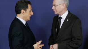 Президент Франции Николя Саркози и председатель ЕС Херман Ван Ромпей