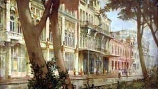 Проспект Мира во Владикавказе на картине осетинского художника Фатимы Ефимовны