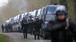 Police at the Notre-Dame-des-Landes site on Friday