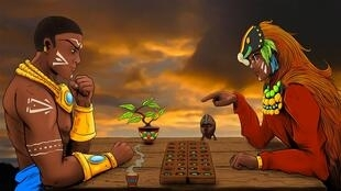 Two characters from the video game 'Kissoro Tribal Game' playing Kissoro, one of the oldest strategy games in the world..