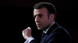 Emmanuel Macron a prononcé un discours sur une stratégie de défense de l'UE, à l'Ecole Militaire, à Paris, le 7 février 2020.