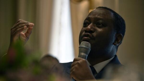 L'ancien chef rebelle et ex-Premier ministre Guillaume Soro, en conférence de presse, le 28 janvier 2020 à Paris.