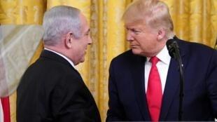 Президент США Дональд Трамп и премьер-министр Израиля Биньямин Нетаньяху, 28 января 2020 г.